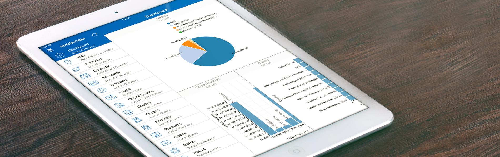 CRM dashboard Ipad