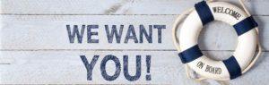 Dynamics 365 for talent Maritimt billede med teksten we want you og welcome on board. Arbejde. Job